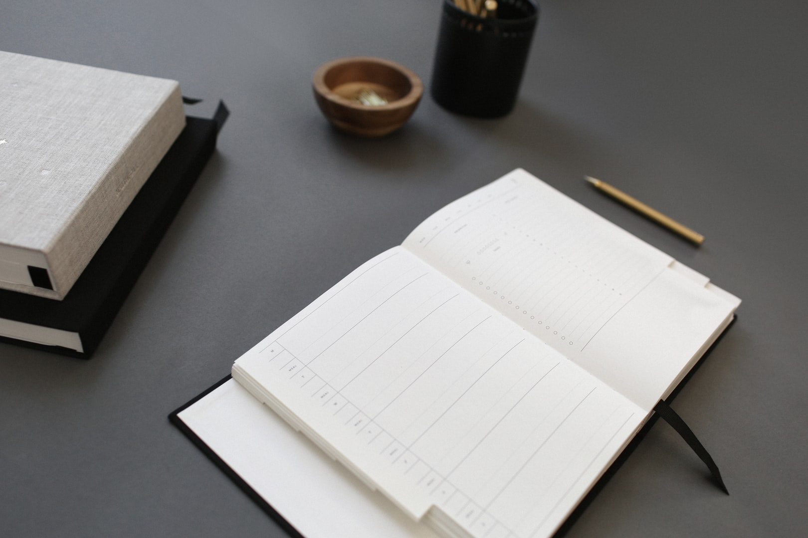 Picture of a diary open on a desk