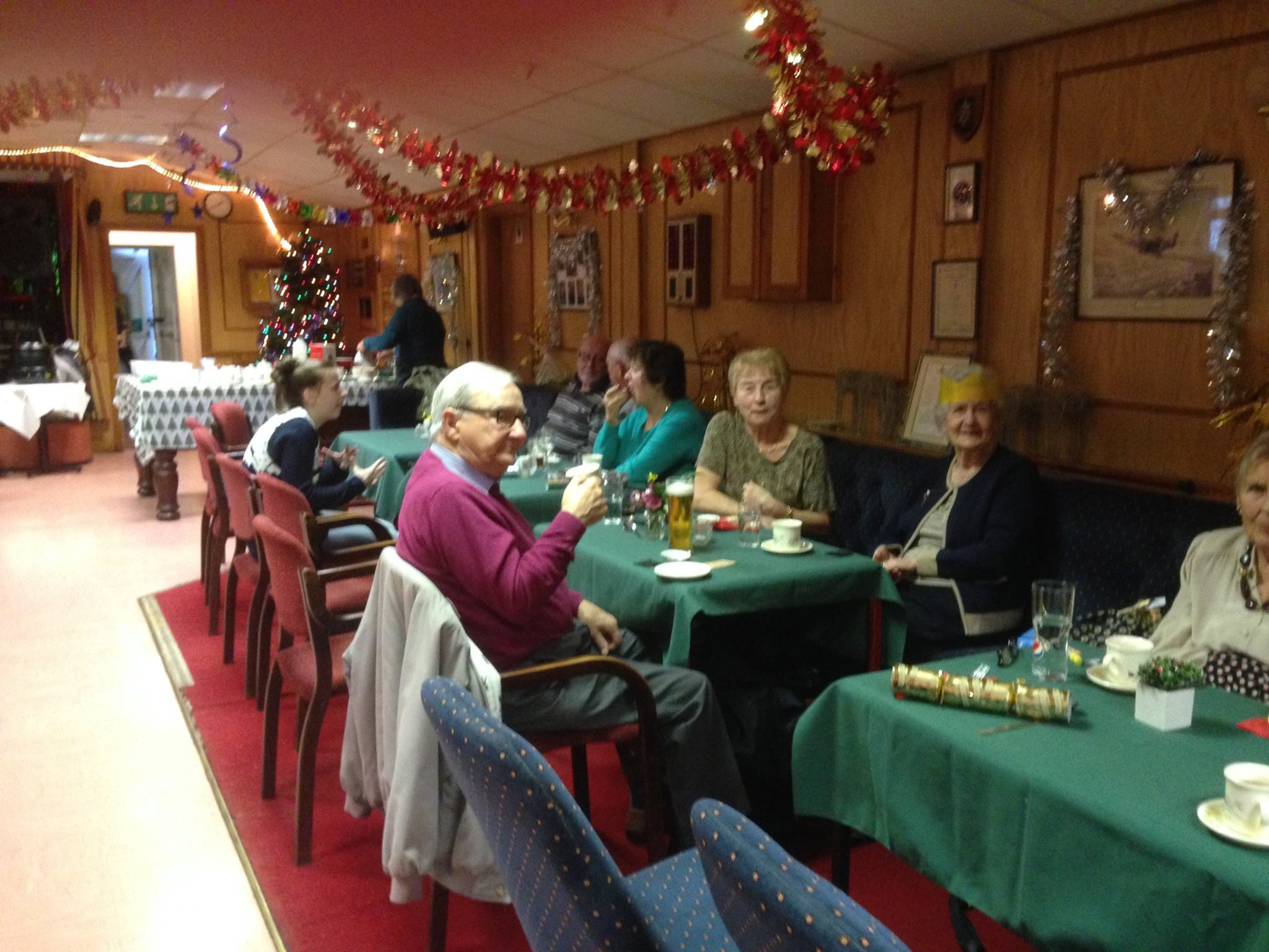 A photo of lunchgoers enjoying a Christmas lunch at Bretforton Community Social Club
