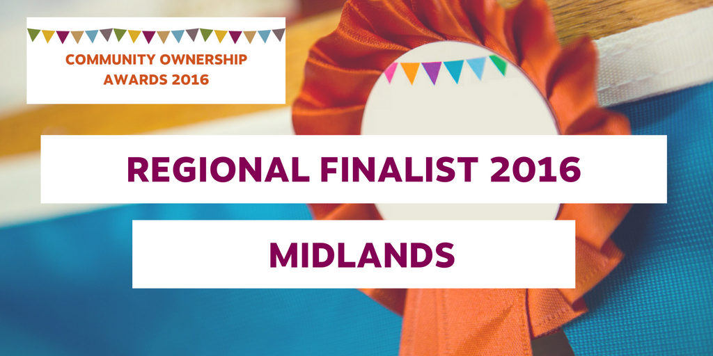 A graphic from the Community Ownership awards 2016 with the words Regional Finalist 2016 Midlands