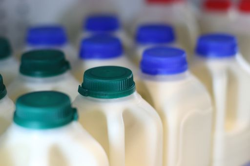 Photo of the tops of cartons of milk