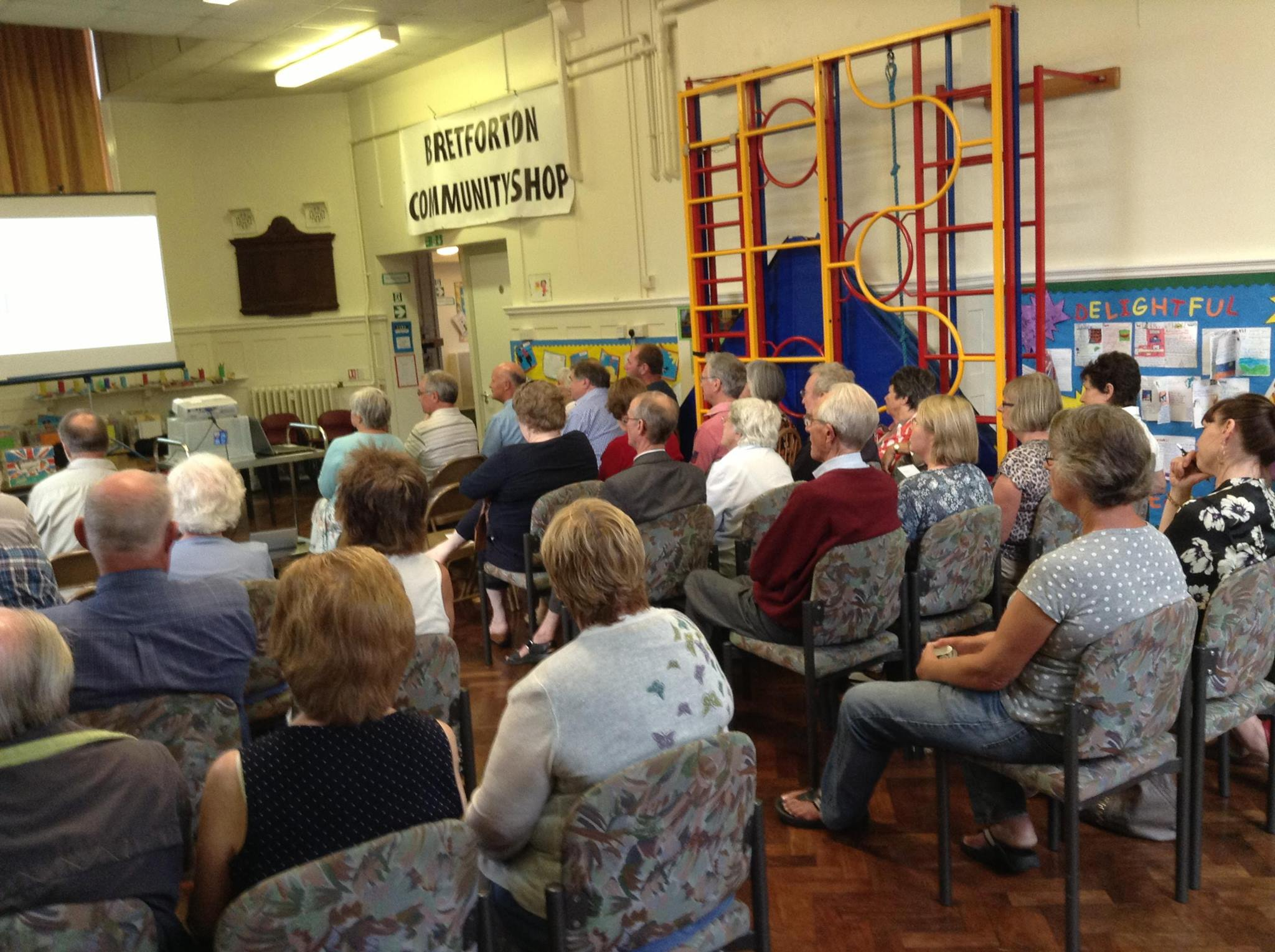 Bretforton villagers at a village meeting