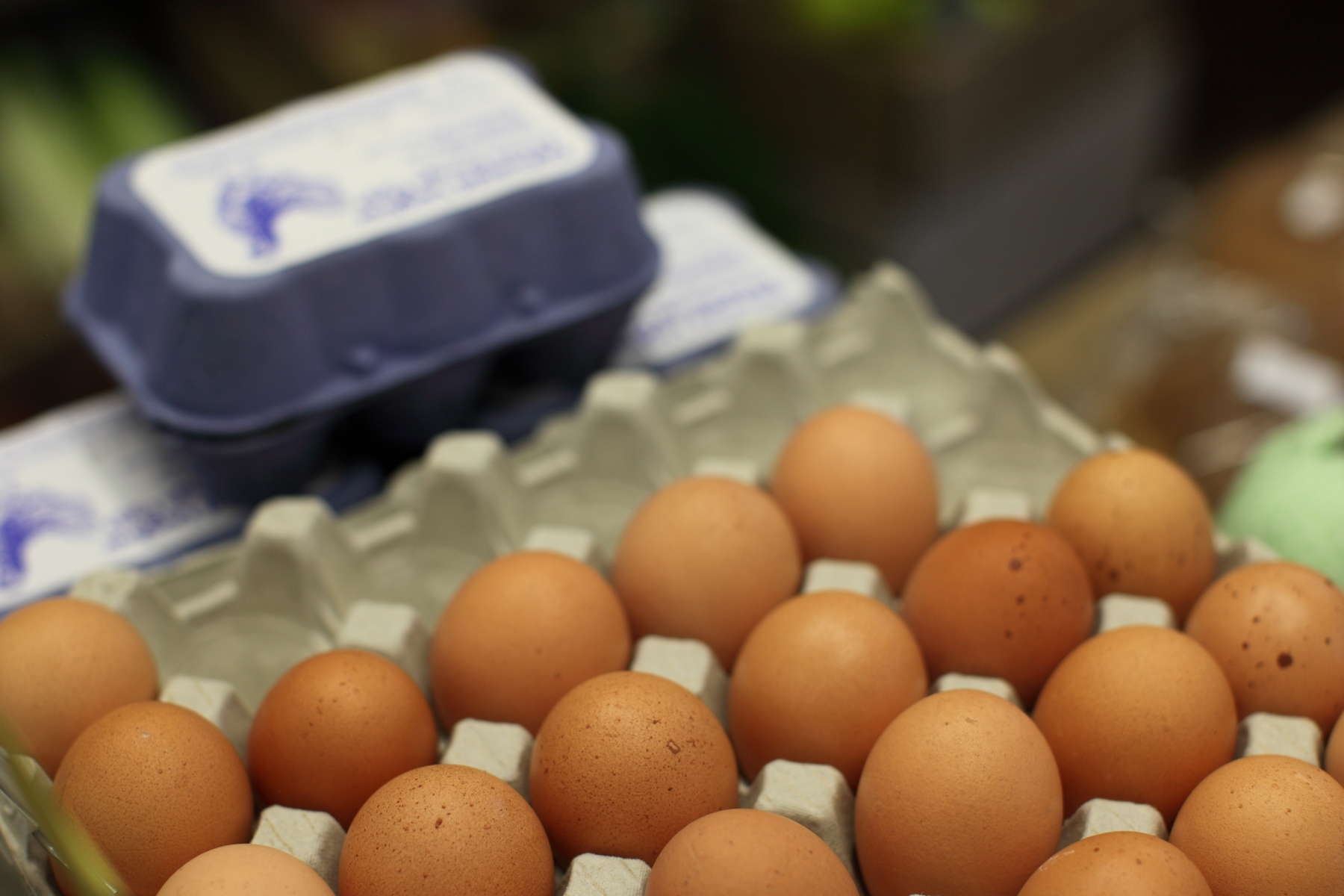A photograph of eggs sitting in a tray